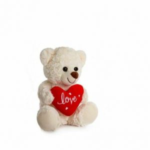 White Heart Bear Medium (25cm)